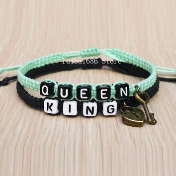 Cool Key Lock Couples Bracelet King Queen His Hers Loves Bracelet Fashion AccessoryAT_93_12