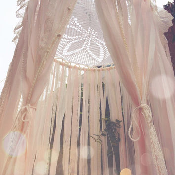 Big Shabby Chic Boho Gypsy Lace Crochet Doily Cream & Light Pink Dreamcatcher Canopy // Baby Nursery Decor // Home/Bedroom Decor // Wedding
