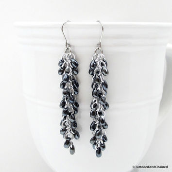 Hematite gray beaded chainmaille earrings, Shaggy Loops weave