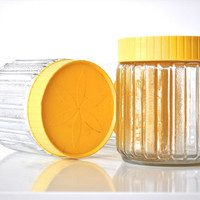 Glass Storage Containers with Yellow Lids