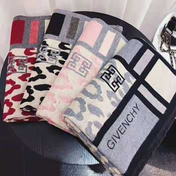 GIVENCHY Fashionable Women Men Leopard Grain Cashmere Cape Scarf Scarves Shawl Accessories