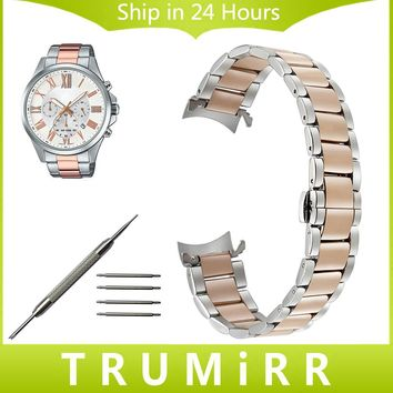 Stainless Steel Watchband Curved End Strap for Casio Men Women Watch Band Butterfly Buckle Wrist Belt 14mm 16mm 18mm 20mm 22mm