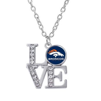 Personalized Denver Broncos logo sticker label metal pendant necklace for football sports exquisite jewelry necklace
