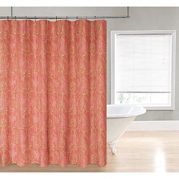 Coral Red Gold Yello Damask Pasiley Shower Curtain