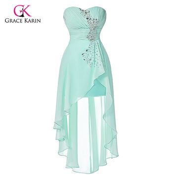 Grace Karin elegant cheap Pale Turquoise High low Prom Dresses 2016 Short Front Long Back Chiffon Evening dress for graduation