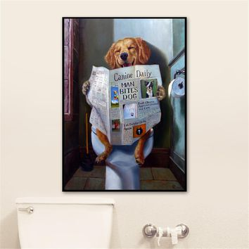 Cute Posters and Prints Bathroom Room Decor Wall Art Prints Funny Dog Toilet Reading Paper Home Decorative Nordic Canvas Art