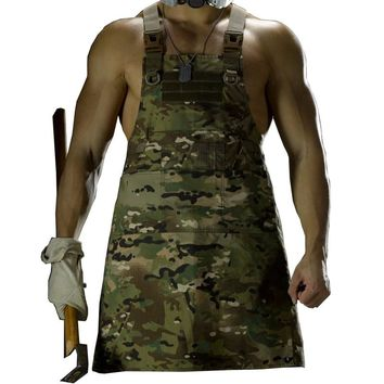 Men Women Outdoor Camping Picnic Cook Prevent Dirty Sleeveless Camouflage Tactical Nylon Vest Pinafore Technician Mechanic Apron