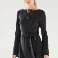 Ecote Bell-Sleeve Scoop-Back Cupro Mini Dress