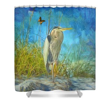 Great Blue Heron Shower Curtain for Sale from