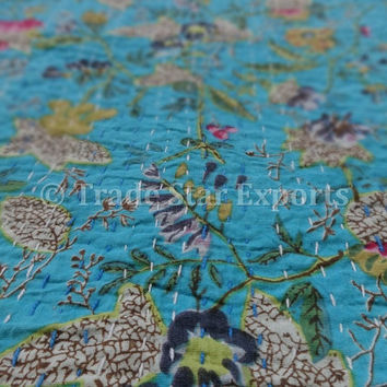 Floral Printed Kantha Quilt, Indian Cotton Bed Cover, Queen Size, Blue Color Theme, Reversible Kantha Throw, Printed Bedspread, India