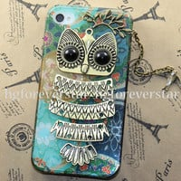 Owl with Branch ,bird pendant --Teal iphone case, teal floral Hard Case Cover for  iPhone 4/4S case