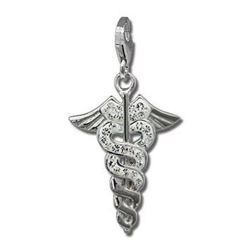 SilberDream Glitter Charm Caduceus with white Czech crystals 925 Sterling Silver Charms Pendant for Charms Bracelet Necklace or Earring GSC557W