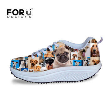 2016 Fashion Women High Heels Platform Swing Shoes Casual 3D Animal Puzzle Shoes Cute Pet French Bulldog Wedge Shoes for Health