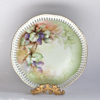 Vintage Raspberry Fruit Decor Plate / Artist Signed / Gold Trim / Home Decor