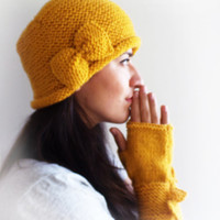 Mellow Mustard Yellow Bow Fingerless Gloves, Knitted Arm Warmers