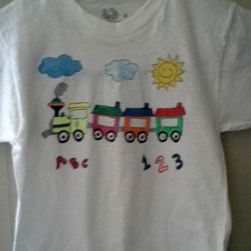 toddler size three hand drawn and painted train