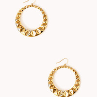 Pyramid Studded Hoops