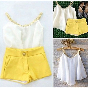 2016 Fashion Summer Kids Baby Girls Chiffon Top Shirt Hot Pants Shorts Outfits Clothes