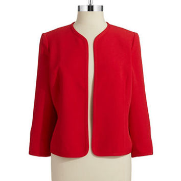 Anne Klein Petite Petite Cropped Open Front Jacket