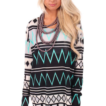 Grey and Black Patterned Mint Accent Tunic Top