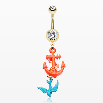 Golden Sparrow Anchor Belly Button Ring