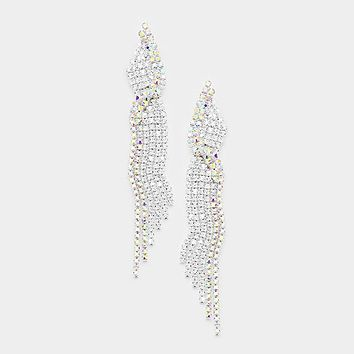 Marquise Crystal Rhinestone Pave Evening Earrings
