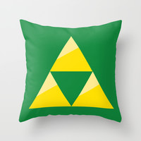 Zelda Triforce - Green and Gold Throw Pillow by Pi Design Prints
