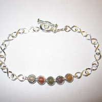 Infinity Bracelet Beaded Rings with Jasper Beads