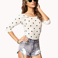 Polka Dot Stretch-Fit Top