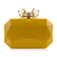 Danielle Faceted Metal Bow Clutch, Neon Yellow