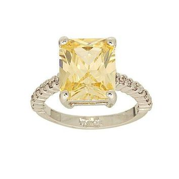 Large Emerald Cut Cubic Zirconia Solitaire Ring in Pale Yellow with Tiny Side Stones
