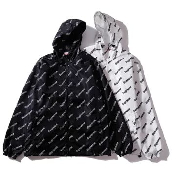 Supreme a double lined windbreaker with a printed pair of men and women