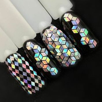 1 Bottle Laser Silver Nail Glitter Sequins Dust Mixed Rhombus Shape Tips Charm Polish Flakes Decorations Manicure