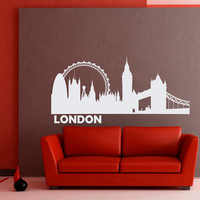 Wall Decals Vinyl Stickers London City Skyline Silhouette Home Decor for Living Room C016