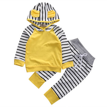 2 Piece Yellow Hooded Set