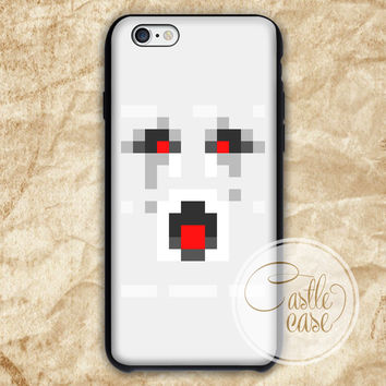 Minecraft ghast angry Black White iPhone 4/4S, 5/5S, 5C Series Hard Plastic Case