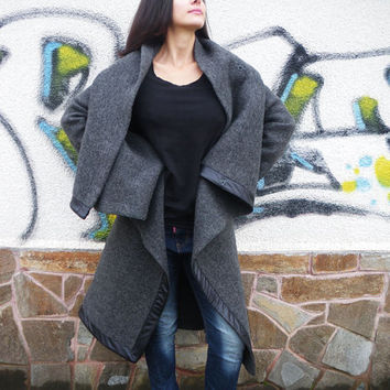 NEW Fall Winter Collection / Grey Asymmetric Extravagant Coat / Wool Long Sleeves Cashmere Top/Casual Warm Winter Coat by moShic C004