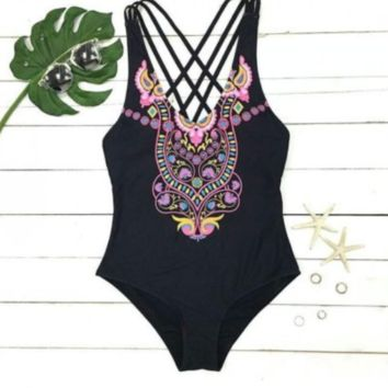 One Piece Ethnic Bikinis Swimsuit