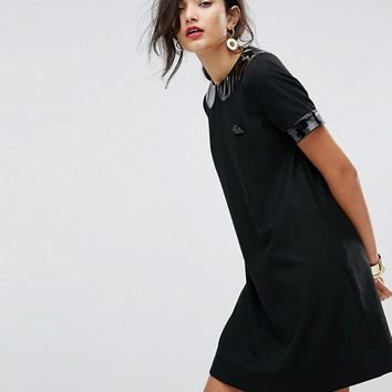 Love Moschino Vinyl Collar A-Line Dress at asos.com