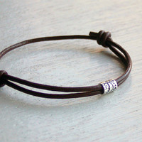 Sterling Silver Tube Bead Leather Bracelet (2 style beads and many cord colors to choose)