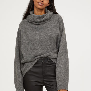 Knit Turtleneck Sweater - Gray - Ladies | H&M US