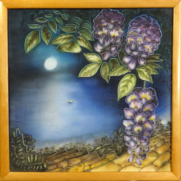 Painting On Silk. Original Artwork. Fine Art Wall Decor Hanging. Interior. Lilac Wisteria Flowers, Blue Night Sea, Full Moon. 29x29cm,12x12""