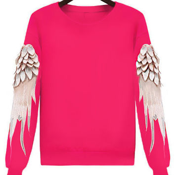 Long Sleeve Wing Print Sweatshirt