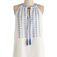 ModCloth Boho Mid-length Sleeveless Balos Lagoon Top in White