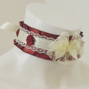 Gothic choker - Noble Antoinette - Dark burgundy pleated choker with red roses - lolita kittenplay ddlg princess collar necklace