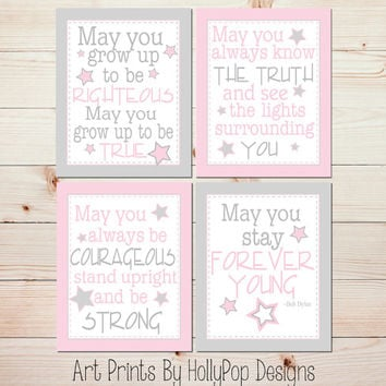 Baby Girl Nursery Wall Art Forever Young Wall Art Pink Gray Toddler Girls Room Wall Art Set of 4 Wall Decor Prints Baby Nursery Art #0972