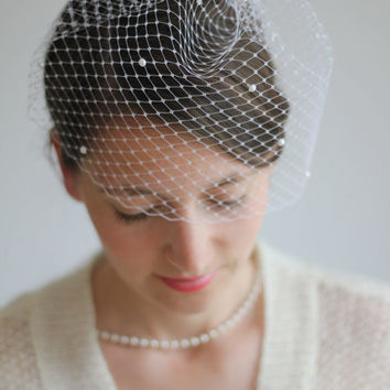 Bridal Pearl Veil Birdcage Veil -  White or Ivory Mini Blusher - Wedding Veil - Russian Netting - Made to Order