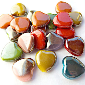 20 Heart Beads, AB Coated Beads, Mixed Colors, 20mm Acrylic Beads, Valentine Beads, AB Heart Beads, Bead Supplies, Beaded Jewelry, UK Seller