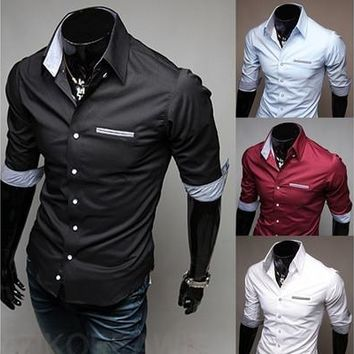 Mens Five Sleeve Casual Slim 4 Color Fashion Business Dress Shirt [9305827015]