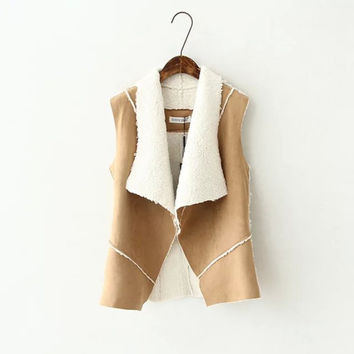 Khaki Faux Suede Leather Fur Vest Coat